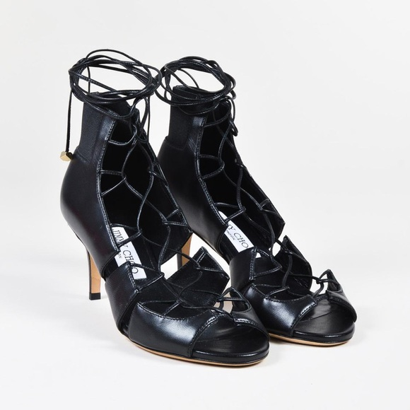 Jimmy Choo Black Leather Lace Up Heels